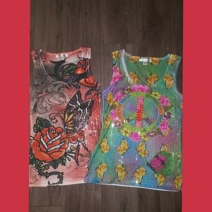 Two Sequins Rock type tanktops ribbed, Small immac